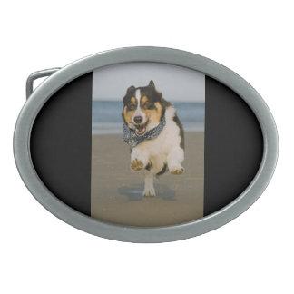 Cute Cori Running & Jumping on Beach Oval Belt Buckle