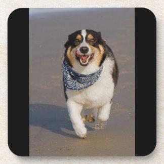 Cute Cori Running on Beach Beverage Coaster