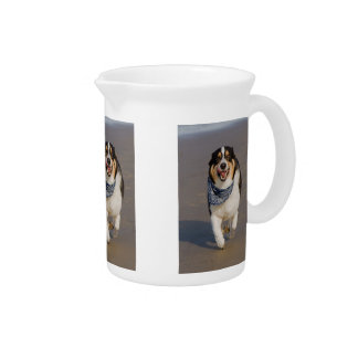Cute Cori Running on Beach Beverage Pitcher