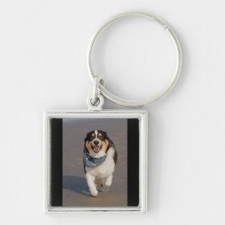 Cute Cori Running on Beach Silver-Colored Square Keychain