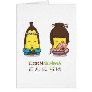 Cute Cornnichiwa Good Day Corn Greeting Card