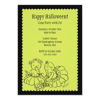 Cute Costume Girls Halloween Party Invitations