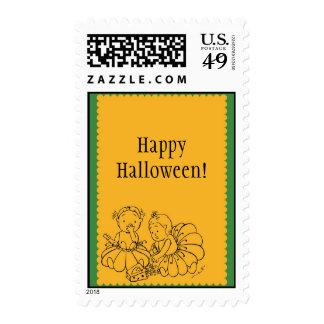 Cute Costume Girls Halloween Stamps