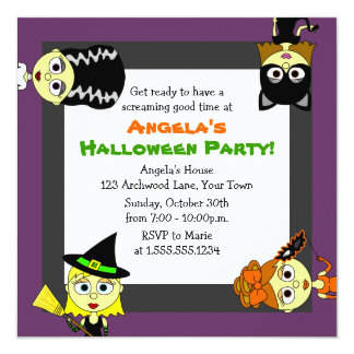 Cute Costumed Girls Halloween Party Invitations
