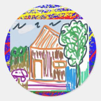 CUTE COTTAGE : Sweet Home KIDDISH Art FUN Classic Round Sticker