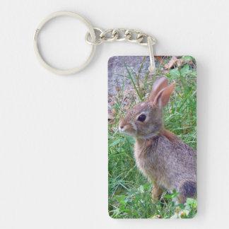 Cute Cottontail Bunny Rabbit Double-Sided Rectangular Acrylic Keychain
