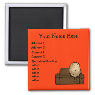 Cute couch potato personalized business 2 inch square magnet