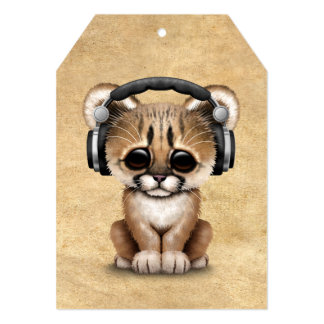 Cute Cougar Cub Dj Wearing Headphones Card