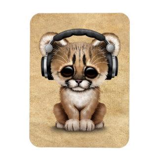 Cute Cougar Cub Dj Wearing Headphones Magnet