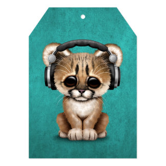 Cute Cougar Cub Dj Wearing Headphones on Blue Card