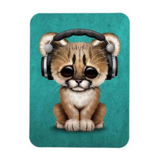 Cute Cougar Cub Dj Wearing Headphones on Blue Magnet