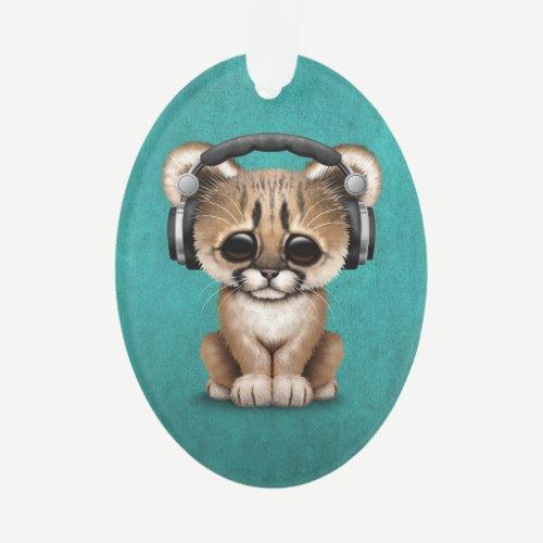 Cute Cougar Cub Dj Wearing Headphones on Blue Ornament