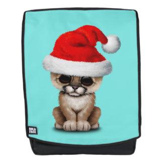 Cute Cougar Cub Wearing a Santa Hat Backpack
