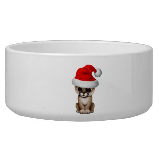 Cute Cougar Cub Wearing a Santa Hat Bowl