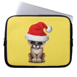 Cute Cougar Cub Wearing a Santa Hat Computer Sleeve