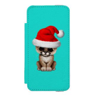 Cute Cougar Cub Wearing a Santa Hat iPhone SE/5/5s Wallet Case