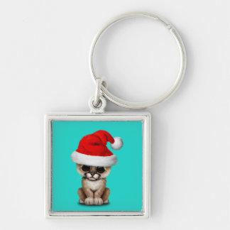 Cute Cougar Cub Wearing a Santa Hat Keychain