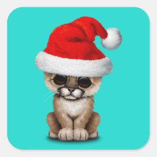 Cute Cougar Cub Wearing a Santa Hat Square Sticker