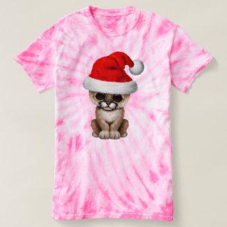 Cute Cougar Cub Wearing a Santa Hat T-shirt