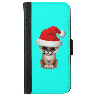 Cute Cougar Cub Wearing a Santa Hat Wallet Phone Case For iPhone 6/6s