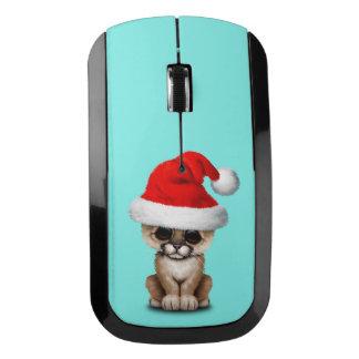 Cute Cougar Cub Wearing a Santa Hat Wireless Mouse