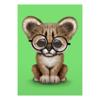 Cute Cougar Cub Wearing Eye Glasses on Green Large Business Card