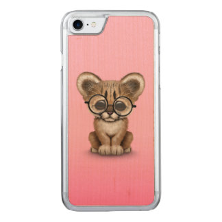 Cute Cougar Cub Wearing Eye Glasses on Pink Carved iPhone 7 Case