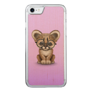 Cute Cougar Cub Wearing Eye Glasses on Purple Carved iPhone 7 Case