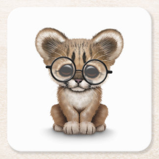 Cute Cougar Cub Wearing Eye Glasses on White Square Paper Coaster