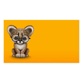 Cute Cougar Cub Wearing Eye Glasses on Yellow Double-Sided Standard Business Cards (Pack Of 100)