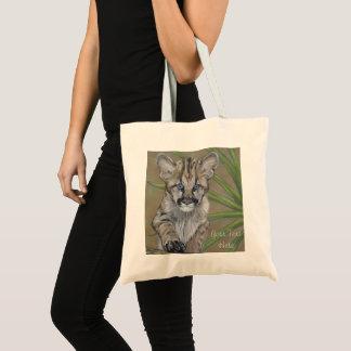 cute cougar kitten big cat wildlife painting art tote bag