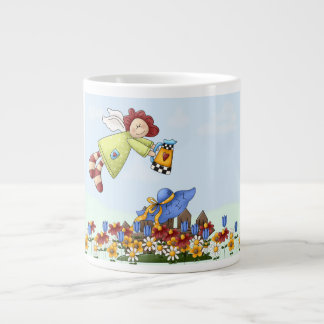 Cute Country Angel Watering Flowers Giant Coffee Mug