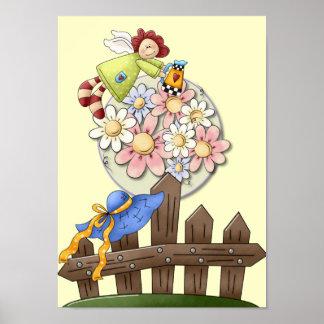 Cute Country Angel Watering Flowers Poster