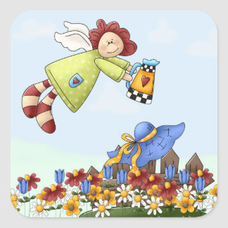 Cute Country Angel Watering Flowers Square Sticker