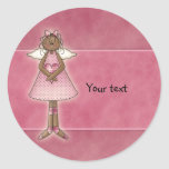 Cute Country Angel with Heart Classic Round Sticker
