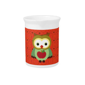 Cute Country Autumn Owls Drink Pitcher