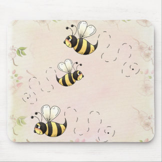 Cute Country Bees and Pink Roses Mouse Pad