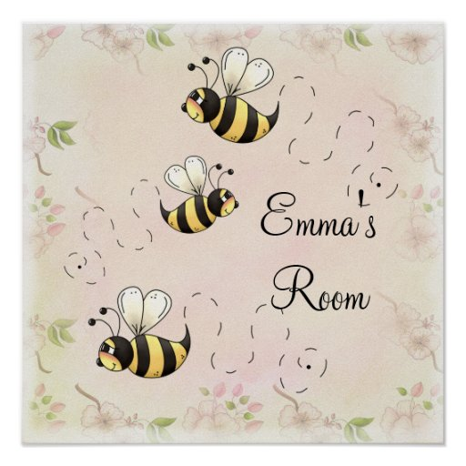 Cute Country Bees to Personalize Poster