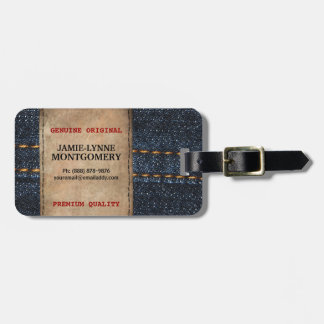 Cute Country Blue Jean Denim Style Luggage Tag