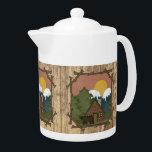 """Cute Country Cabin bear Teapot<br><div class=""""desc"""">design by Cheryl Seslar at www.digiwebstudio.com</div>"""
