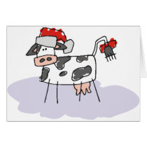 Cute Country Christmas Cow Card