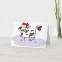 Cute Country Christmas Cow Holiday Card