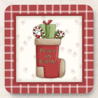 Cute Country Christmas Stocking with Red Plaid Coaster