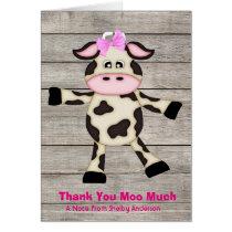 Cute Country Dancing Girl Cow Thank You