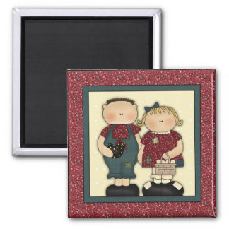 Cute Country Farm Boy and Girl With Egg Basket 2 Inch Square Magnet