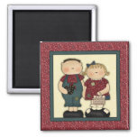 Cute Country Farm Boy and Girl With Egg Basket Magnet