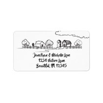 Cute Country Farm in Black and White Address Label