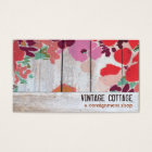 Cute Country Floral Wood Art Consignment Boutique Business Card