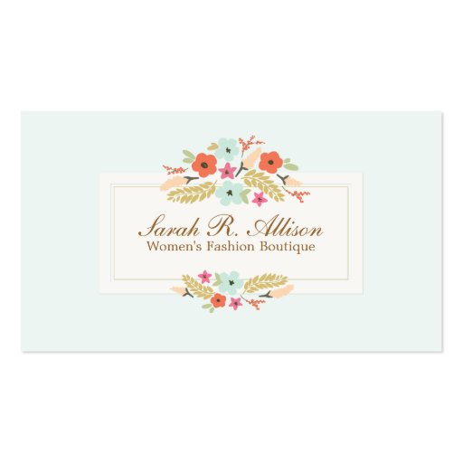 Cute Country Flowers Vintage Fashion Boutique Business Card Template