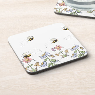 Cute Country Folk Flowers Mushrooms and Butterfles Beverage Coaster